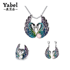Jewelry wholesale china stainless steel swan necklace enamel jewelry sets 2017