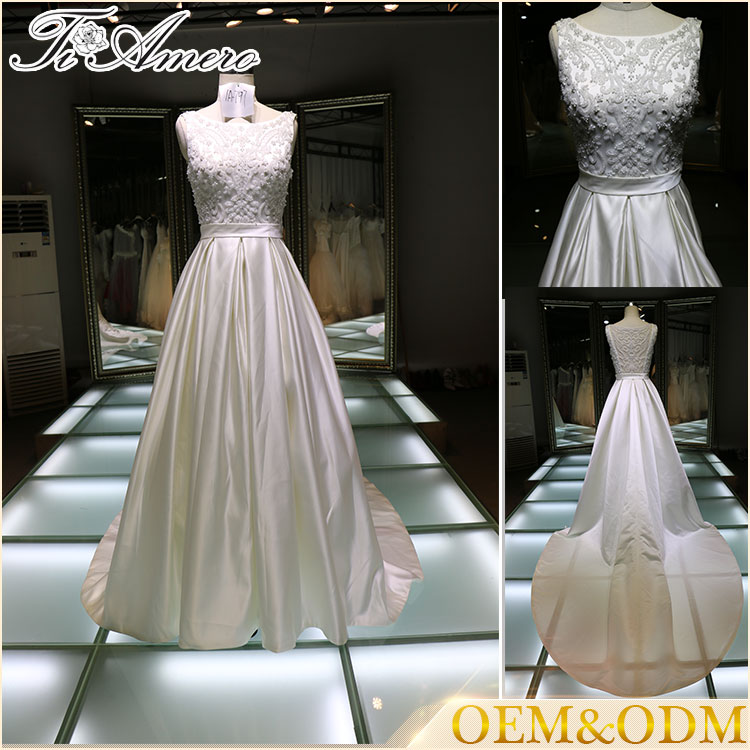 China custom made Sleeveless long train A line ladies gown evening wedding dress