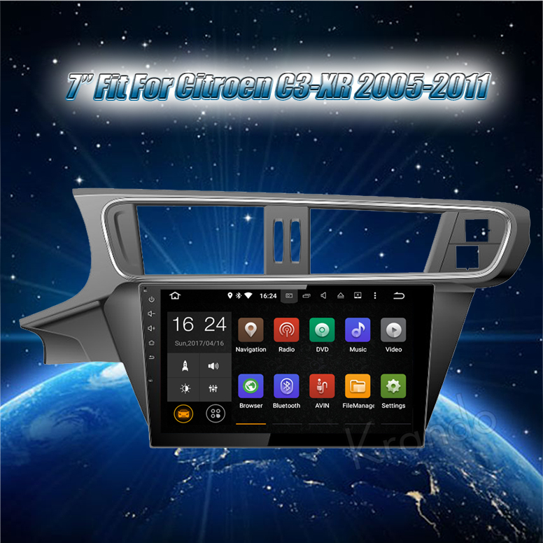 "Krando Android 8.1 7"" full touch screen car radio player for Citroen C3-XR 2005-2011 gps navigation 4g LTE 2G RAM KD-CT111"