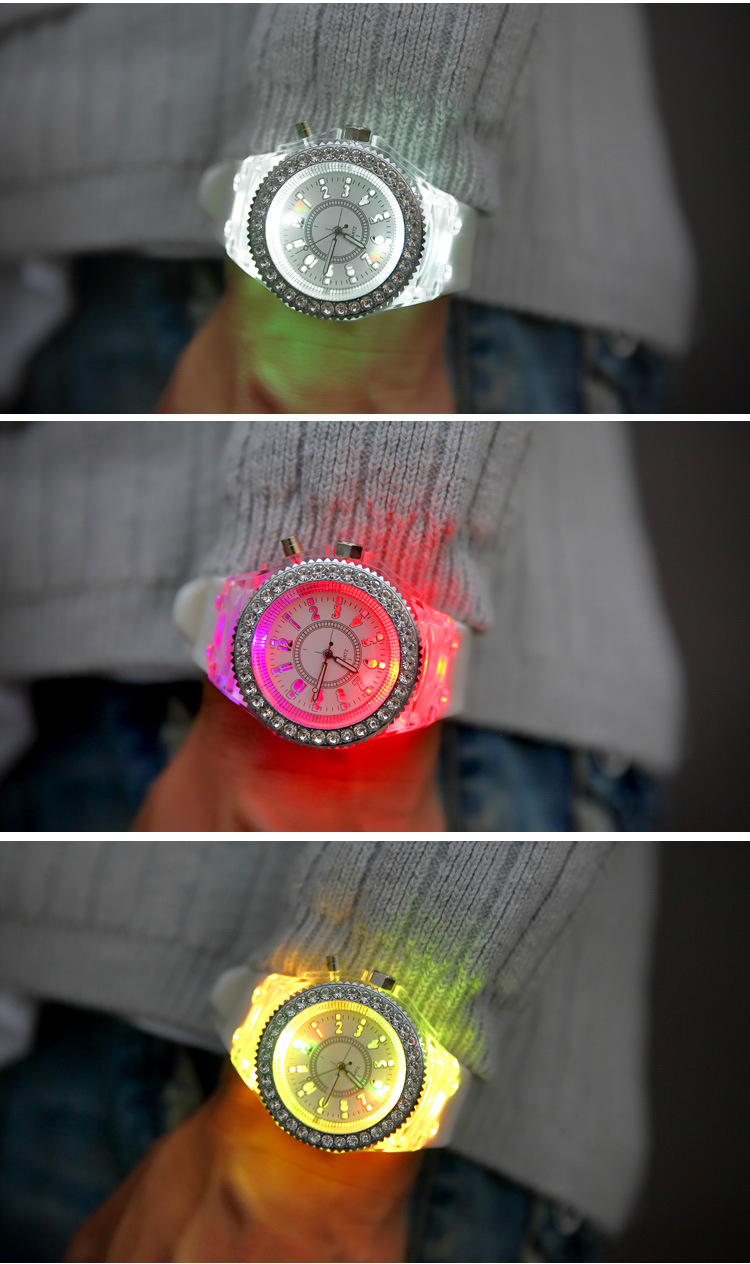 Hot Selling Fashion Promotion Geneva LED Light Watch Men Quartz Watch Ladies Women Silicone Watch Relogio Feminino Relojes