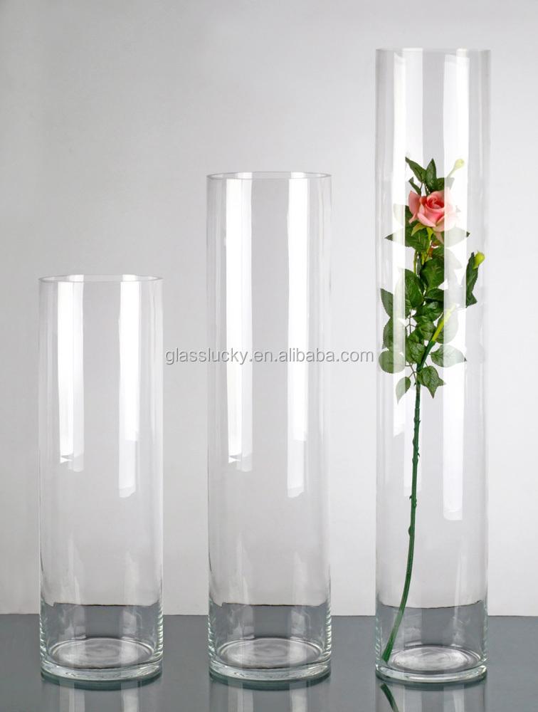 Hoge Transparante Man Geblazen Glazen Cilinder Vaas Voor Bloemstukken Buy Hoge Transparante