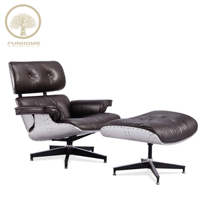 High quality aluminium recliner chair barcelona leather lounge & ottoman for sale