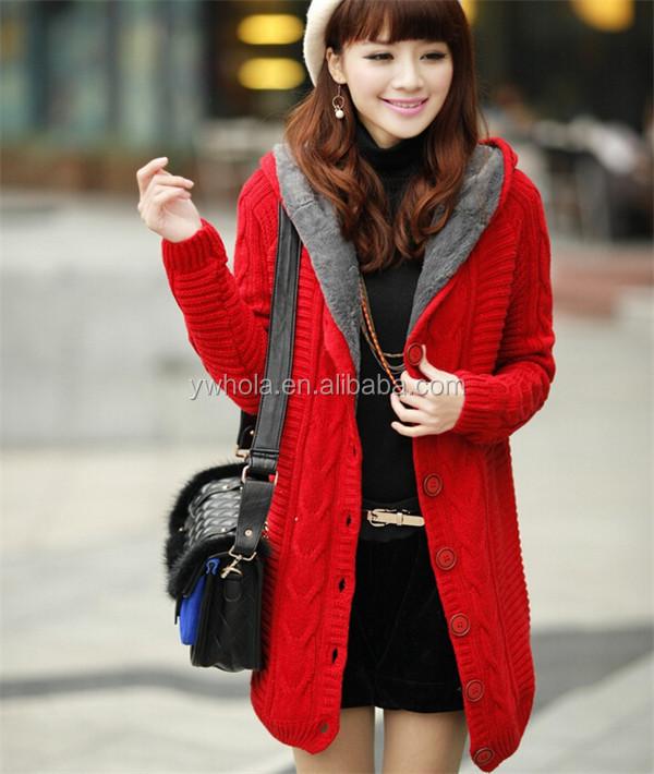 2015 Fashion Winter Warmer Women Long Red Cardigan Knit Sweater ...