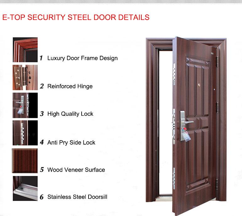 E Top Door Factory Made In China Custom Size Steel Wood Door Glass