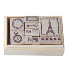 2017 new beautiful design craft mini wooden rubber stamp