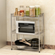 Suoernuo Z653 3 Tier Metal Mesh Holder Kitchen Organizer microwave oven stand beside shelving rack