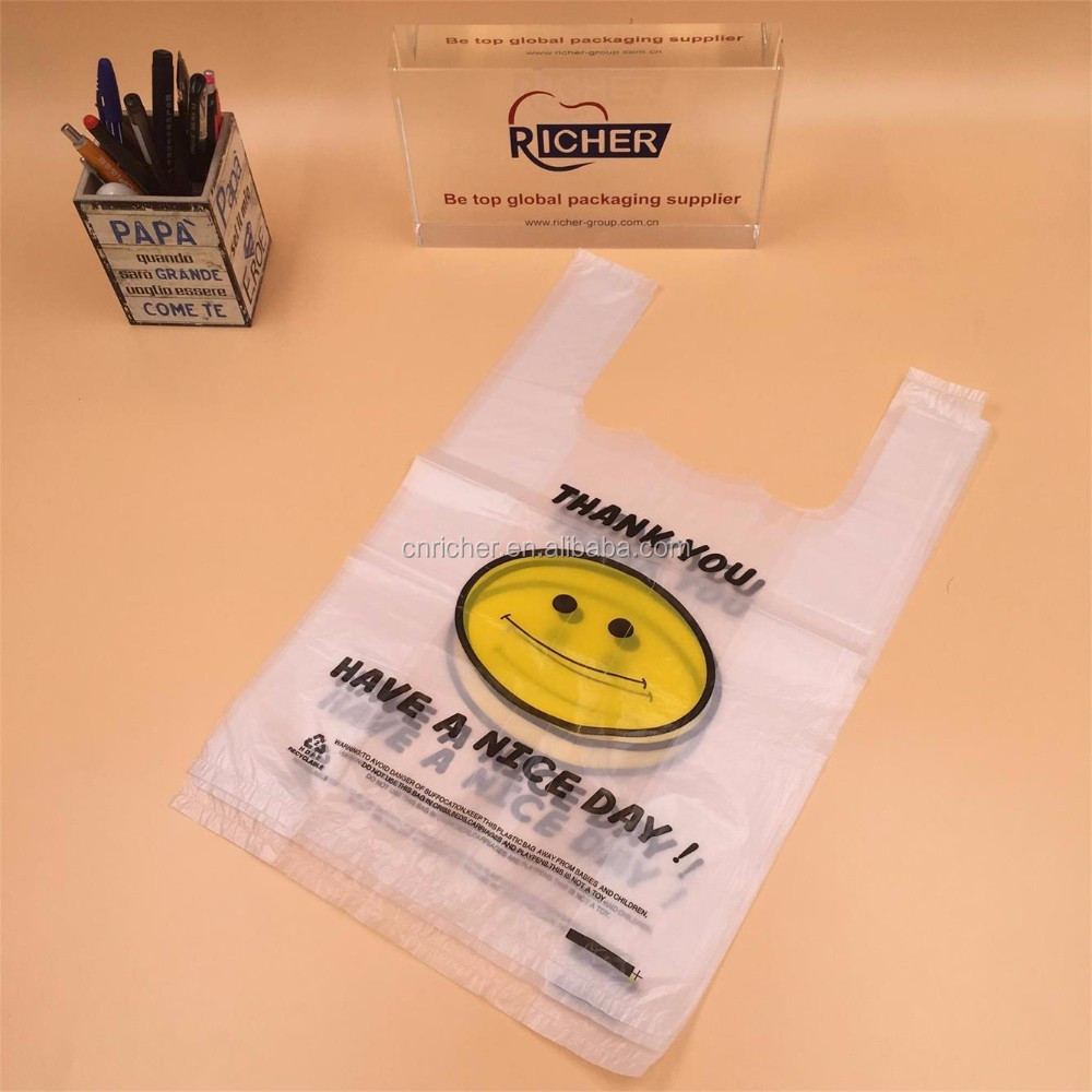 Printed Plastic T-Shirt Bag for Supermarket use/veat handle bags for shopping with own logo