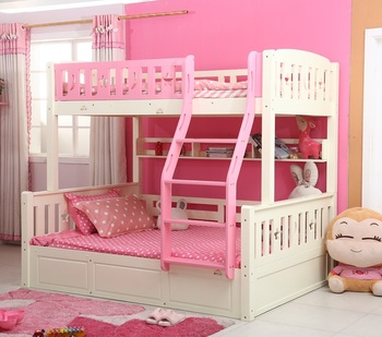 Colorful Pink And White Bedroom Storage Bunk Bedbunk Bed Kids