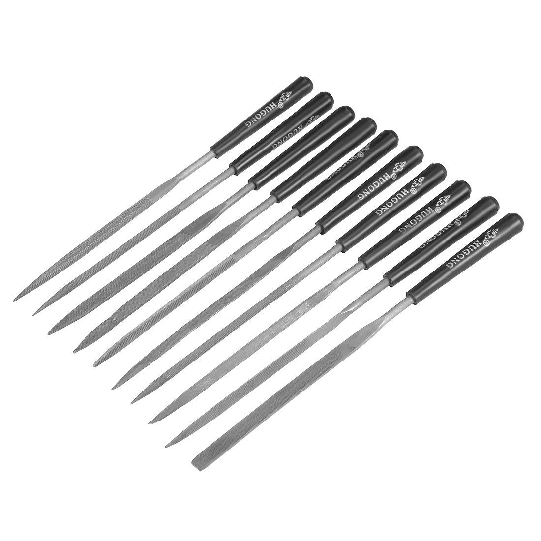 uxcell 10Pcs Smooth Cut Steel Needle File Set with Plastic Handle, 3mm x 140mm