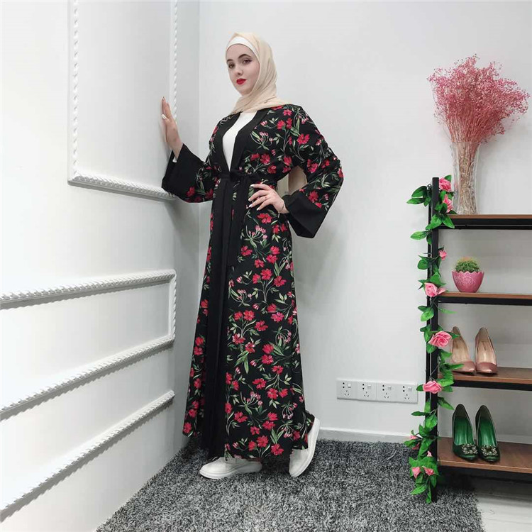 Latest  beautiful open abaya for muslim women maxi abaya floral abaya for EID