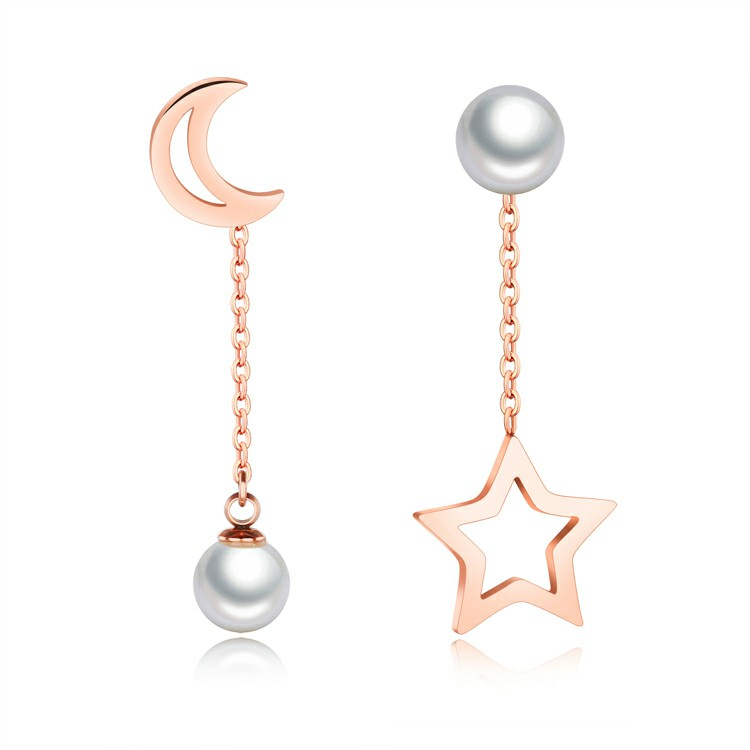Marlary Exquisite Long Silk Chain Drop Earrings Rose Gold Plated Fancy Moon And Star Pearl Earrings