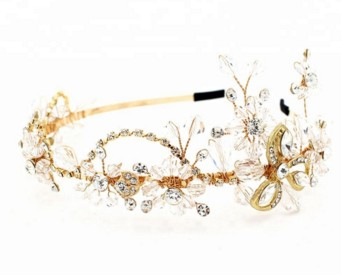 GENYA Handmade crystal beading alloy girl hairband Bridal hair accessories