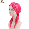 Vintage 3D flower Pre-Tied Head Cover Snood Headscarf Hat Chemo Cancer headwrap TJM-04F