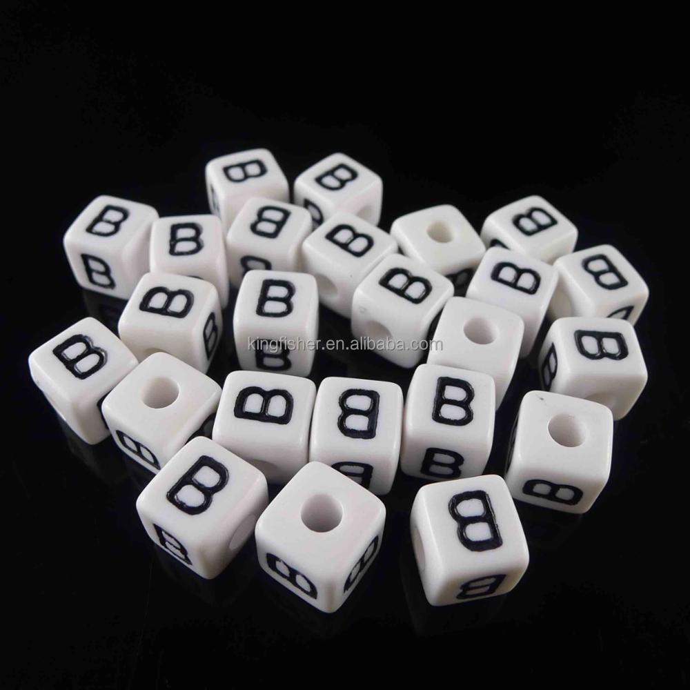 Beads Nice Factory Price 6*6mm Cube Gold Letter Beads Single Alphabet D Jewelry Bracelet Big Hole Beads Acrylic Square Alphabet Beads