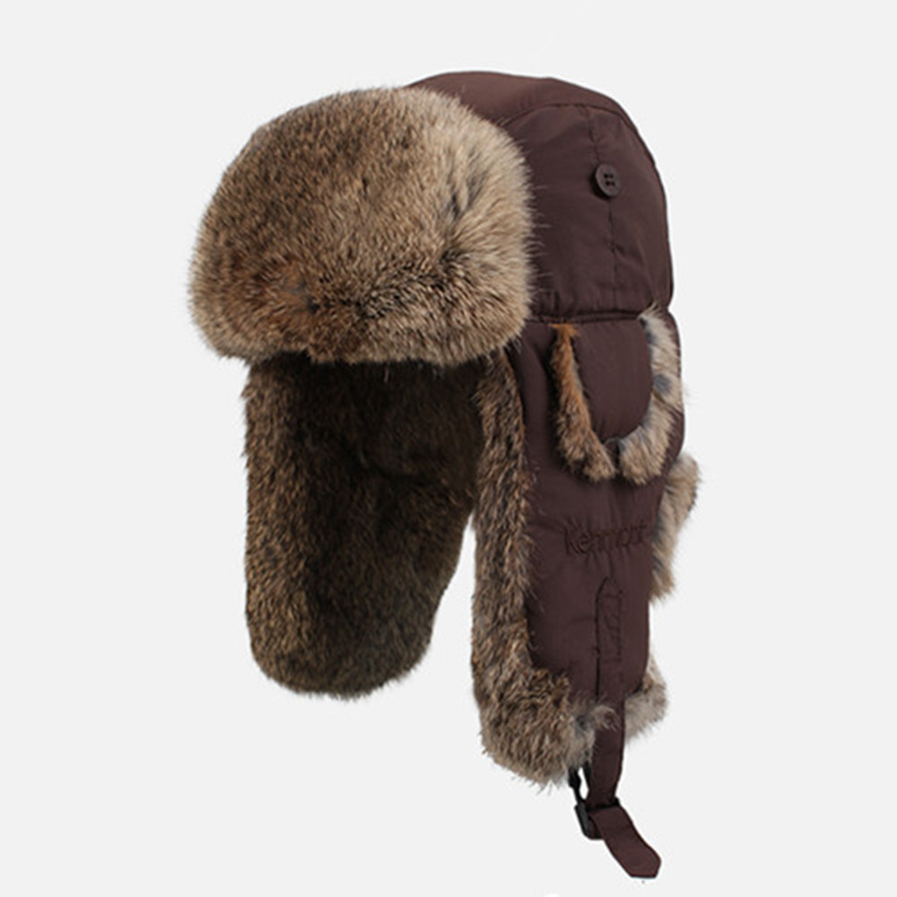 3b6ed8cb125c5 Get Quotations · Kenmont Winter Men 100% Natural Rabbit Fur Outdoor  Waterproof Coffee Color Bomber Aviator Russia Hat