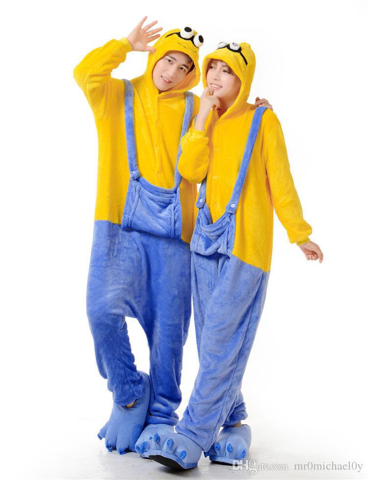 98a3a6a3c161 Get Quotations · Minion style dispicable me Animal Onesies Pajamas For Adult  Cute Women s One Piece Onesies Pajamas Hooded