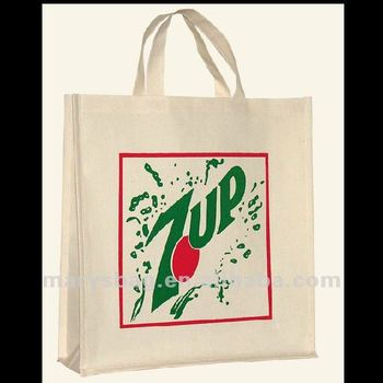 Vertical Cotton Canvas Shopping Bag with Short Handle