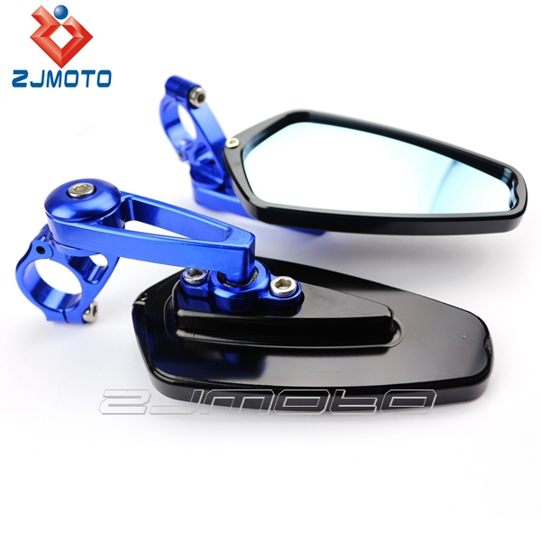 ZJMOTO Universal Motorcycle Side Mirror Rear View Mirror Driven Racing CNC Aluminum handle Bar end mirrors for most sportbikes