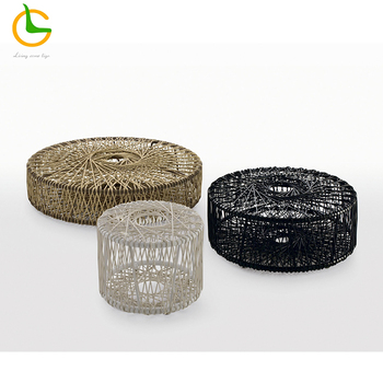 European style contemporary black aluminum round plastic wicker rattan coffee table