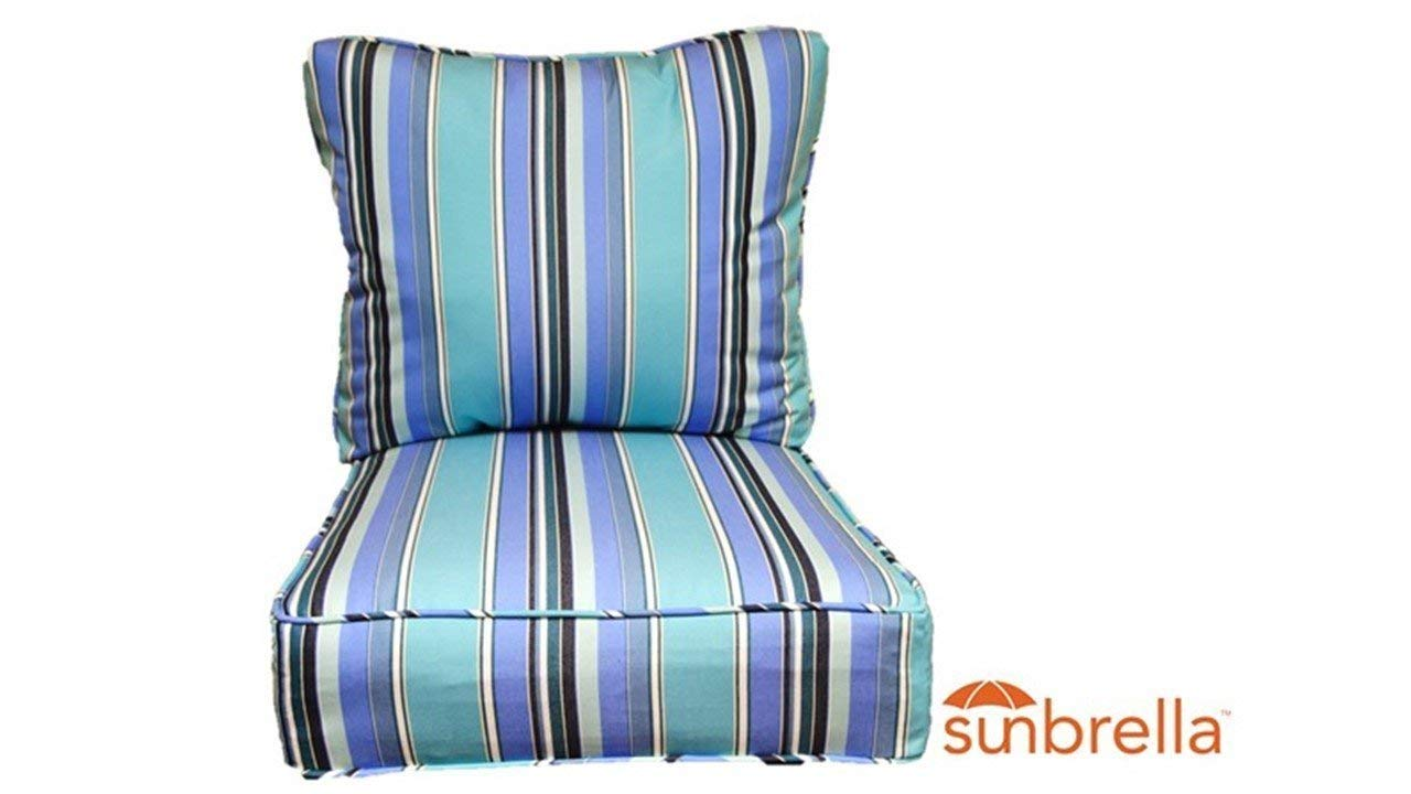 """Resort Spa Home Decor Sunbrella Dolce Oasis ~Blue White Black Stripe~ Cushion Set for Indoor/Outdoor Deep Seat Furniture Chair - Choose Size (Seat Cushion 24""""w X 24""""d)"""