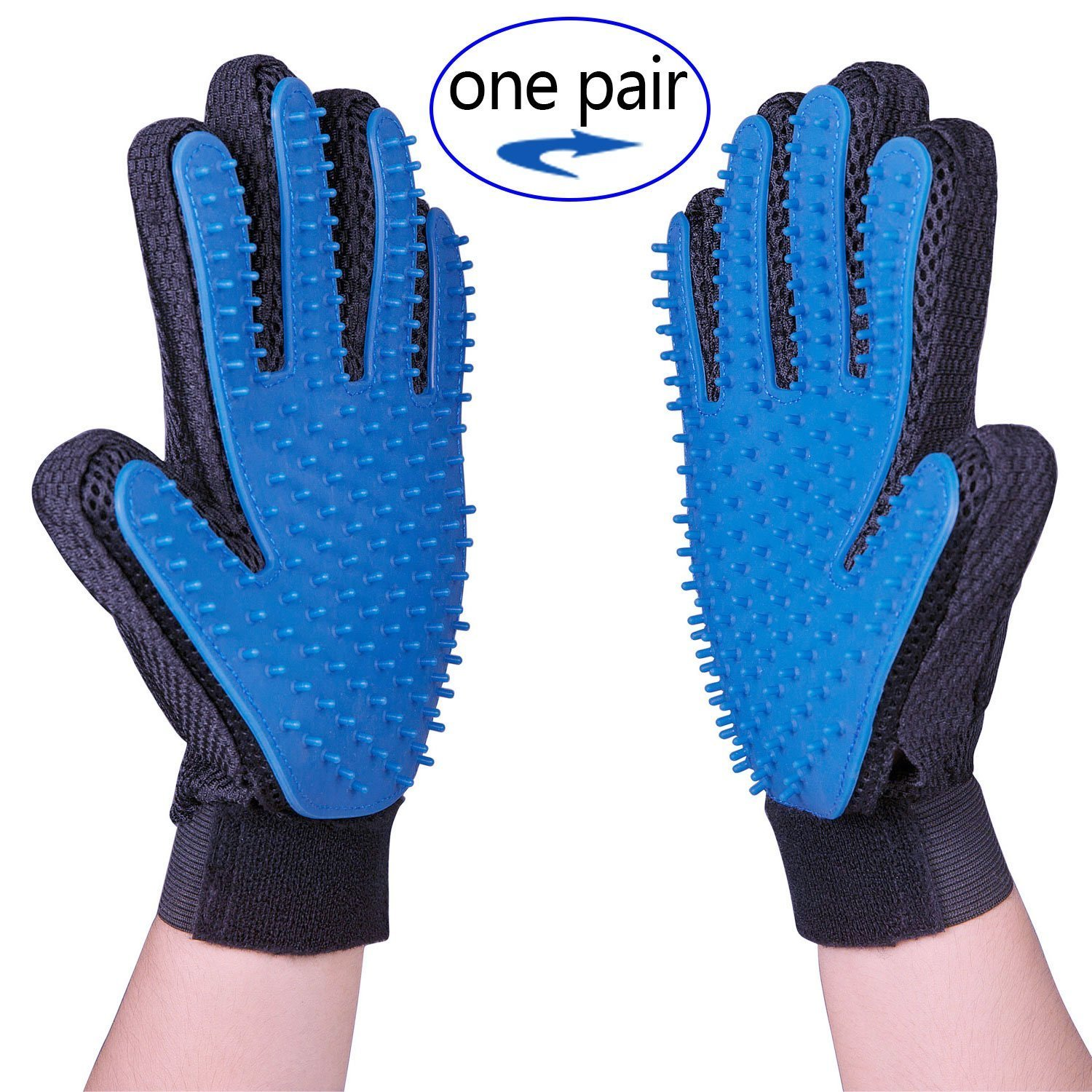 Pet Grooming Gloves Tool for Dog Cat,Shedding Comb Hair Remover for Dog Cat,Pet Dog Cat Massage Tool & Bathing Brush for Shedding Long Short Or Curly Hair Comb,One Pair (Left & Right Hands Included)