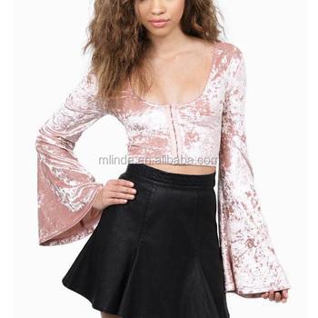 0f363972136e3 Western Women Party Tops Wholesale Custom Fashion Sexy High V Neck Flared  Sleeve Short Blouse Plain