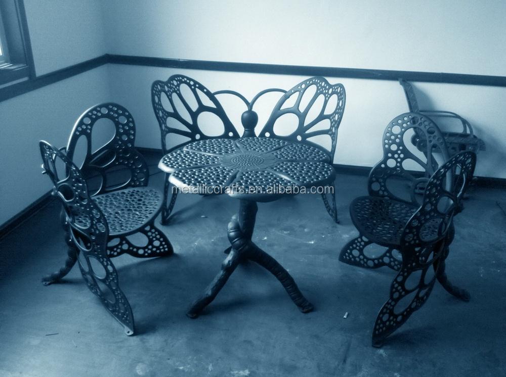 Patio smeedijzeren duurzaam gietijzer outdoor tafel en stoelen metalen stoelen product id - Leuningen smeedijzeren patio ...