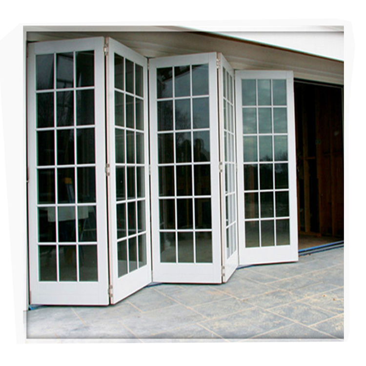 China manufactory high quality aluminum alloy powder coated exterior double glazed bifold doors