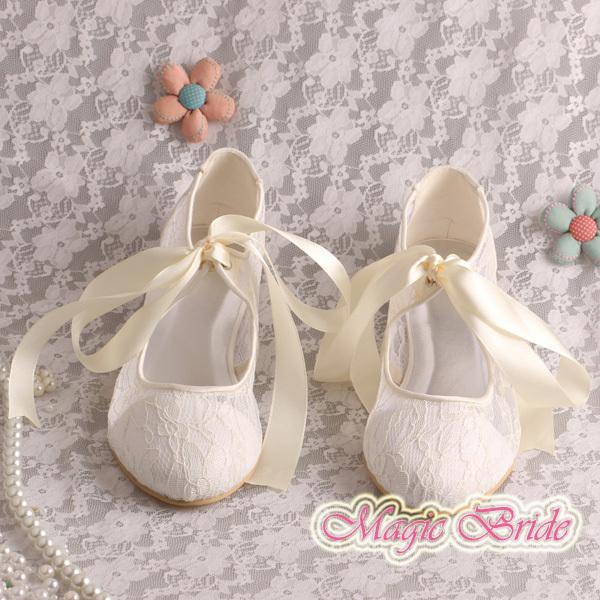 Magic Bride No Heel Bridal Wedding Shoes Ivory