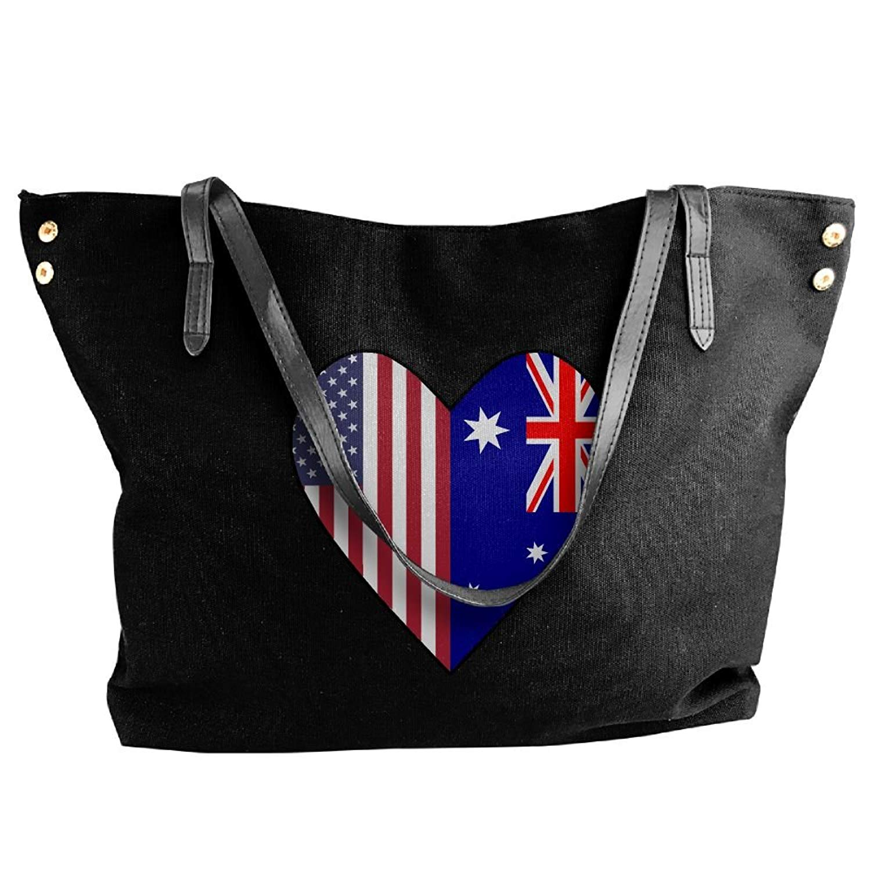 172c928e02 Get Quotations · Women s Canvas Large Tote Shoulder Handbag Half Australia  Flag Half USA Flag Love Heart Handbags