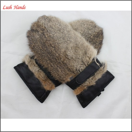The most warm back rabbit fur gloves mitten leather gloves