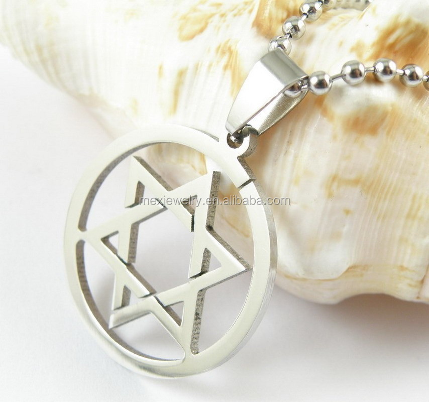 High polished 316 stainless steel cheap silver star of david pendants