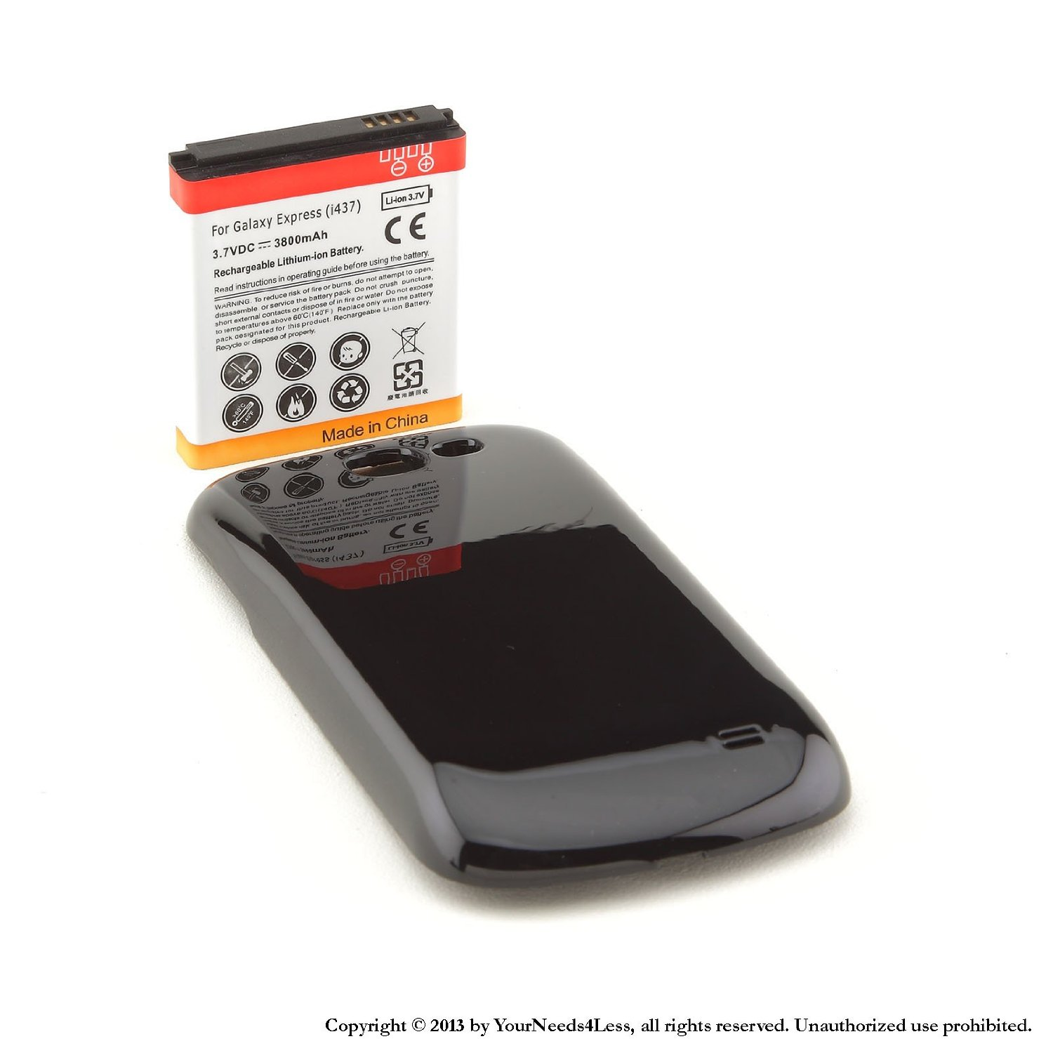 YN4L® 3800mAh extended battery for Samsung Galaxy Express SGH-i437 + Black cover
