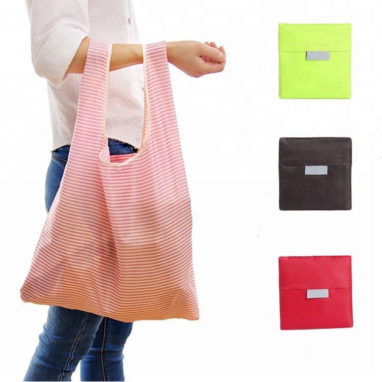Wholesale Custom Promotional Recycle  Eco Friendly Reusable Grocery Tote Nylon Foldable Shopping Bag For Gift