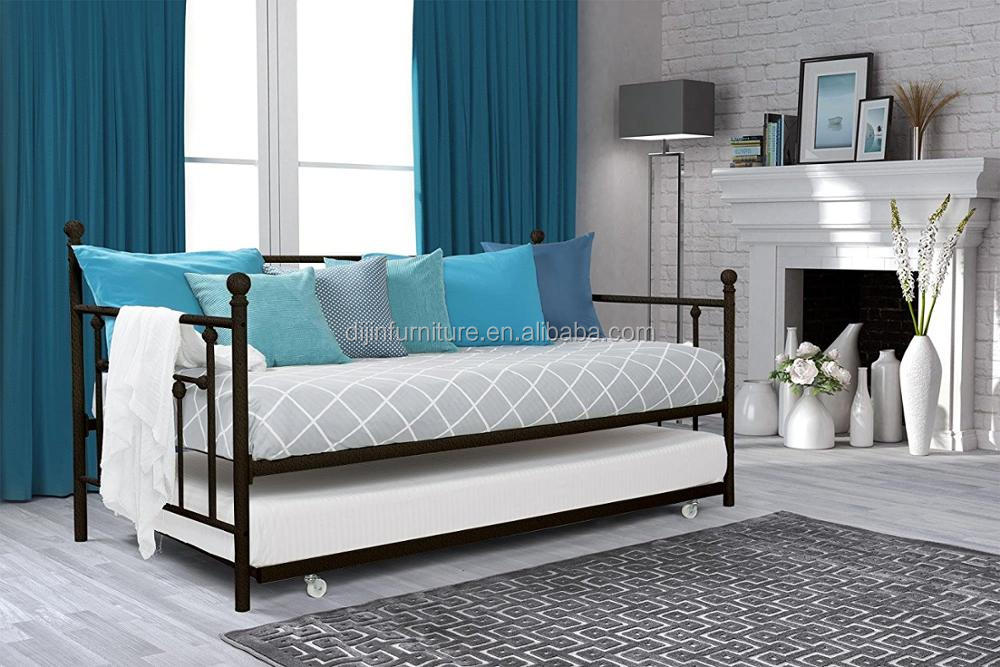 Manila Metal Daybed and Trundle, Full Size Daybed and Twin Size Trundle, Multifunctional, White
