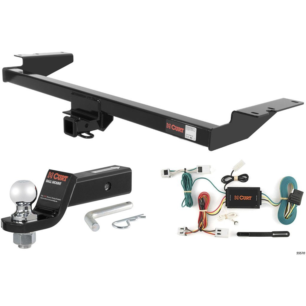 """CURT Class 3 Trailer Hitch Tow Package with 2"""" Ball for 2004-2009 Nissan Quest"""