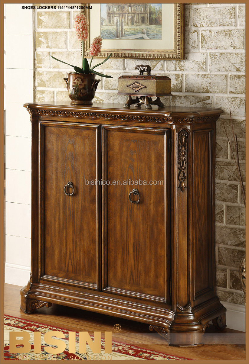 Luxury American Style Living Room Solid Wood Shoe Cabinet