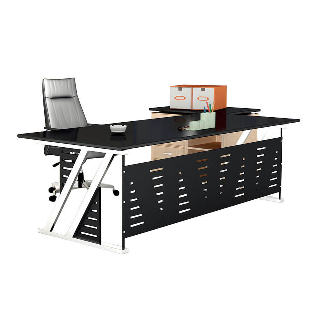 Customized Modern Tempered Glass Office Furniture Ceo Executive Office Table With Side Table Pt
