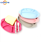 FDA standard 4 spaces custom baby food feeding silicone dinner plate for kids