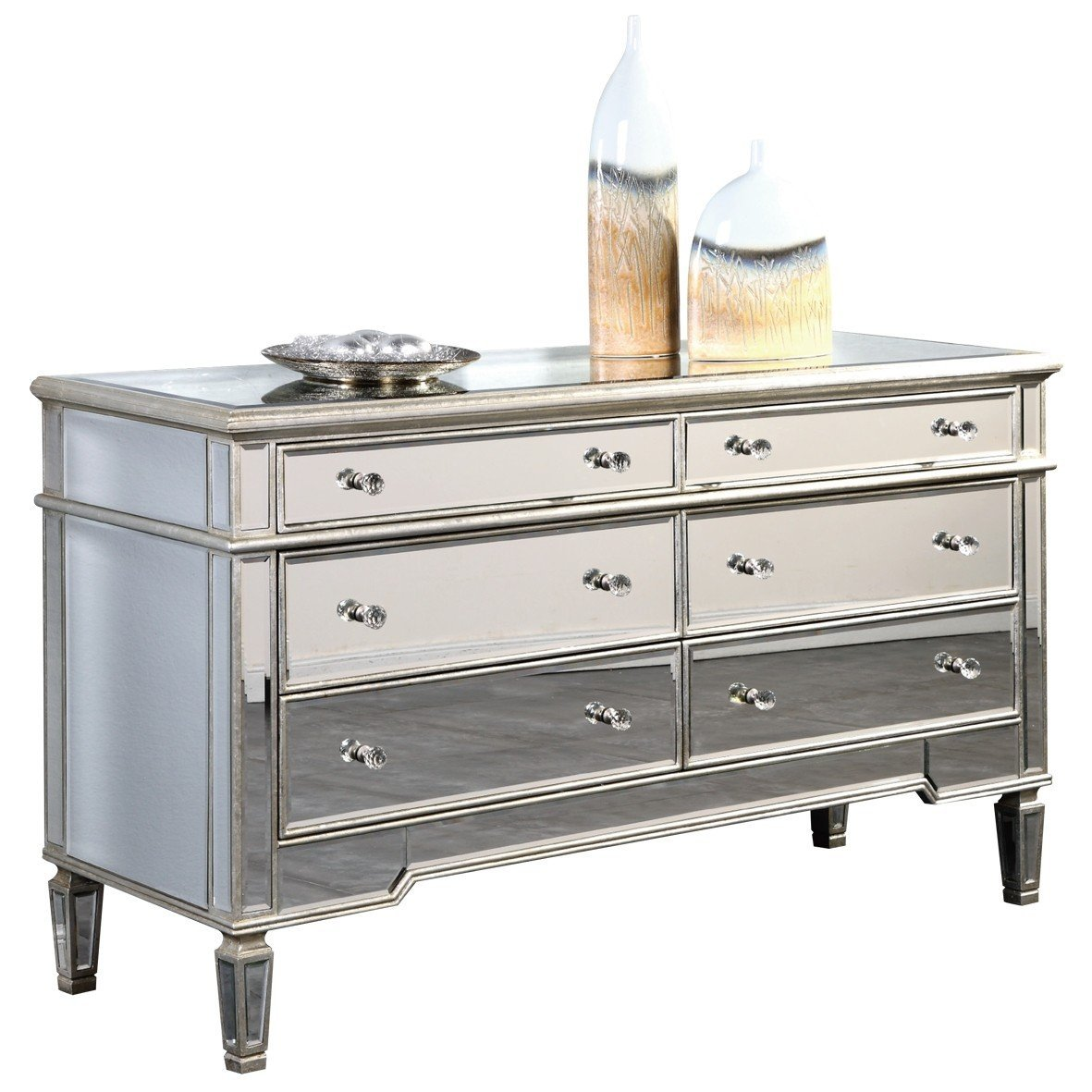"""Elegant Lighting Florentine MF1-1005SC 6-Drawer Dresser with Silver/Clear Mirror, 60"""" by 20"""" by 34"""""""