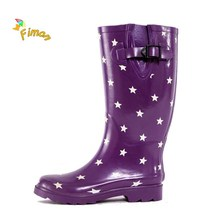 purple women rubber rain shoes with buckle