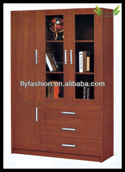 Hot Office Furniture Wooden Filing Cabinets Liborary Book Shelf With Gl Doors