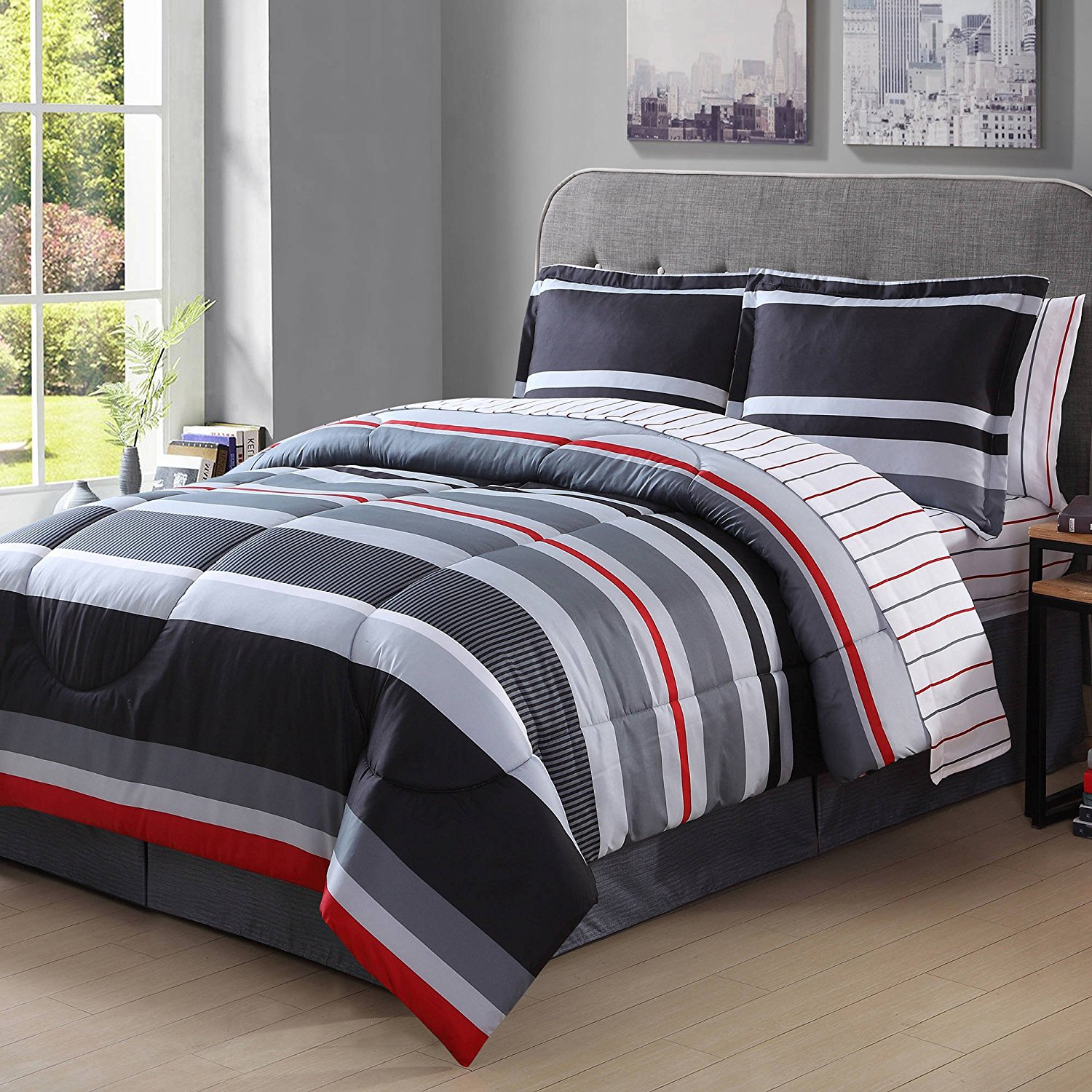 8 Piece Grey Red Off White Boys Rugby Stripes King Comforter Set With Sheets, Beautiful Horizontal Sports Striped, Reversible Black Platinum Gray Striped Kids Bedding For Bedroom, Microfibre Polyester