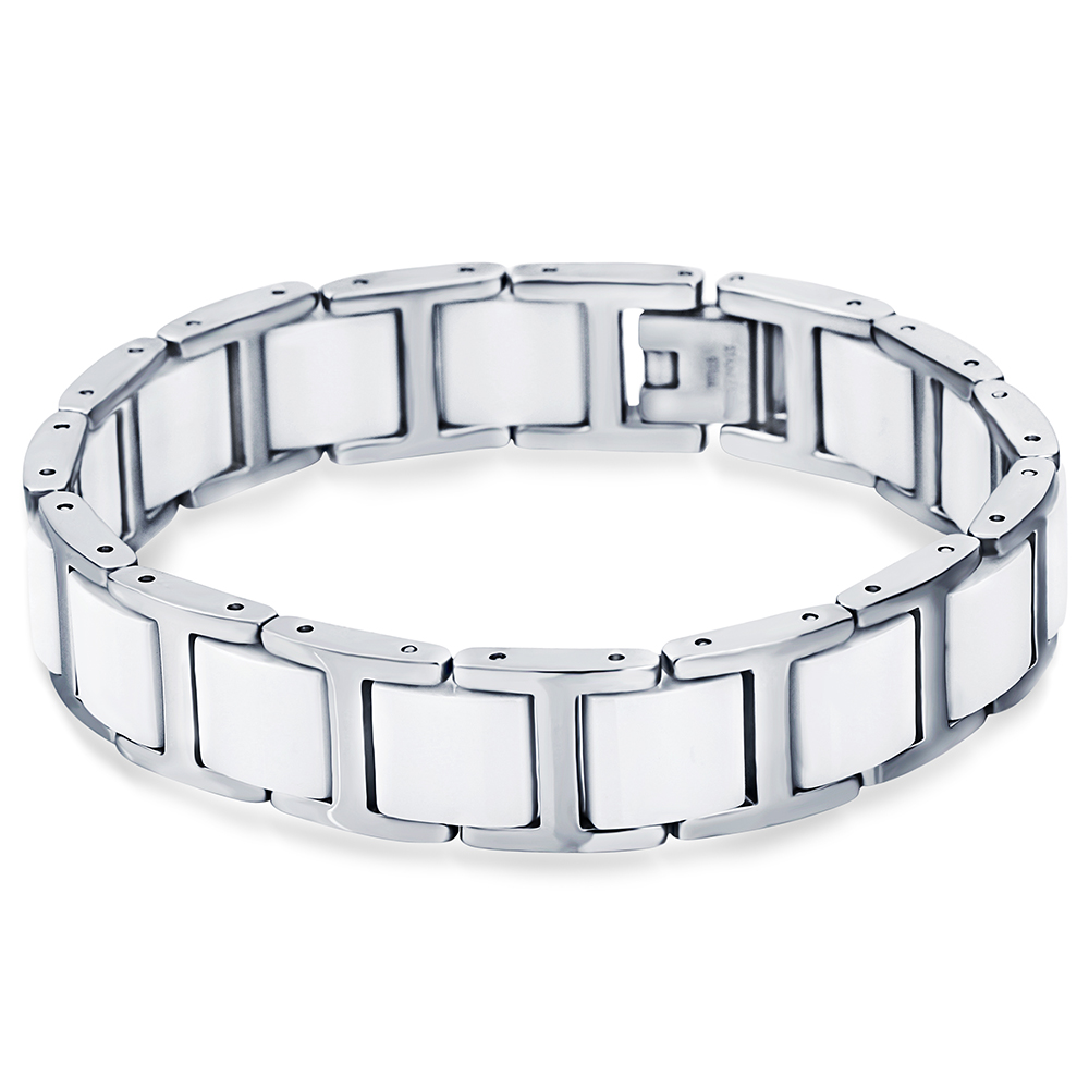 Top Sell 13mm Width 316L Stainless Steel Ceramic <strong>Magnetic</strong> <strong>Energy</strong> <strong>Bracelet</strong> For Women