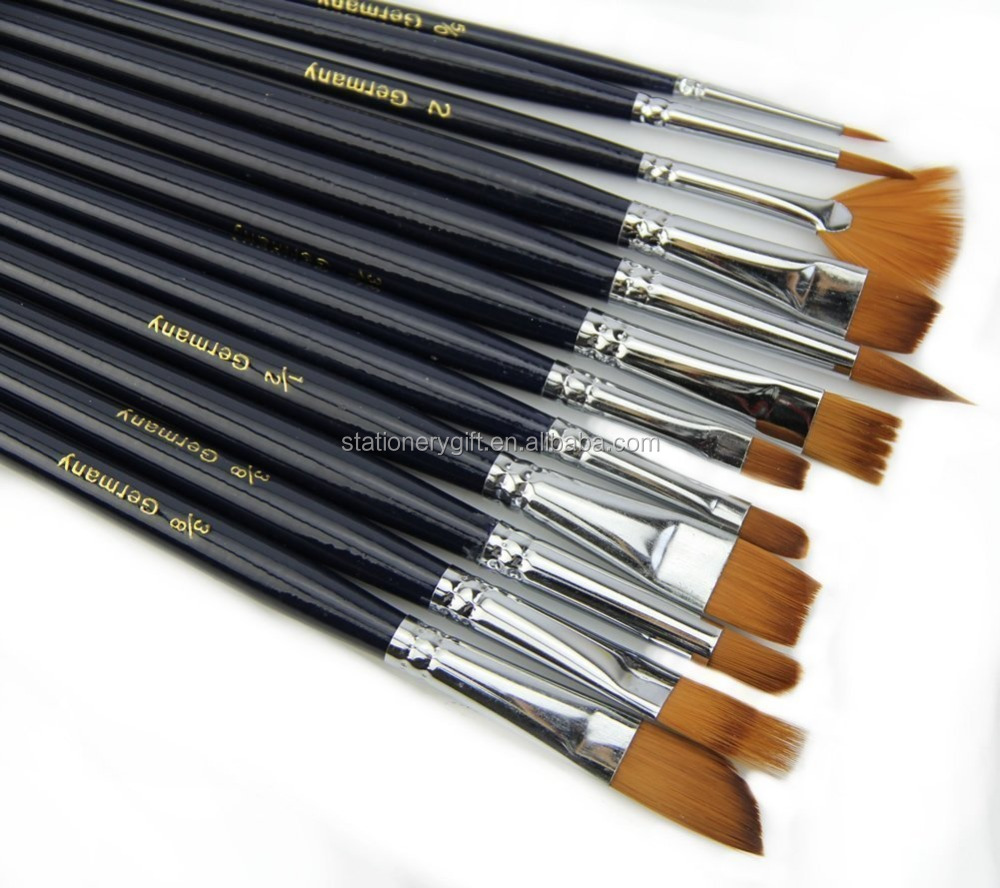 12pcs Black Long handle Artist paint brushes sunset watercolor