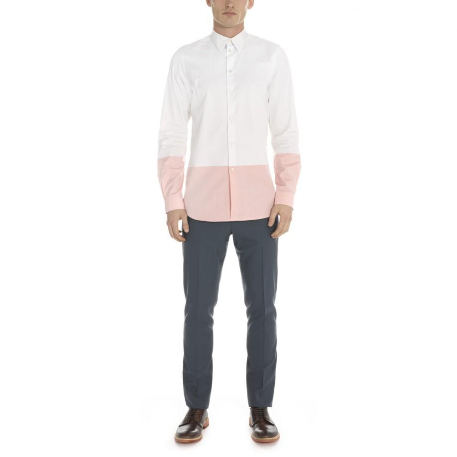 Men's Slim-Fit White And Pink Colour Block Shirt