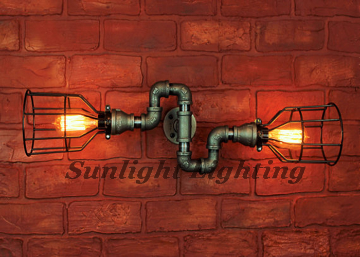 American Industrial Lamp Sconce Special Water Pipe Black Wrought ...