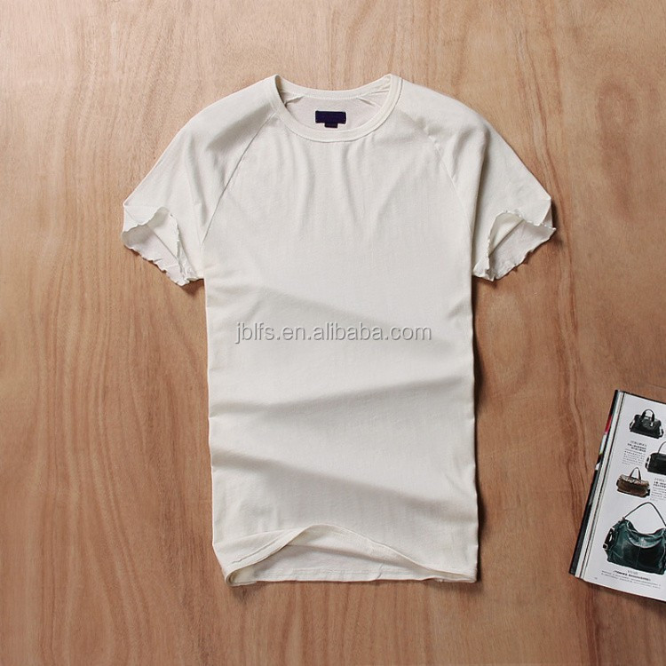 Summer new pure color wash do old men's clothing of slim fit round collar leisure nail bead short sleeve T-shirt