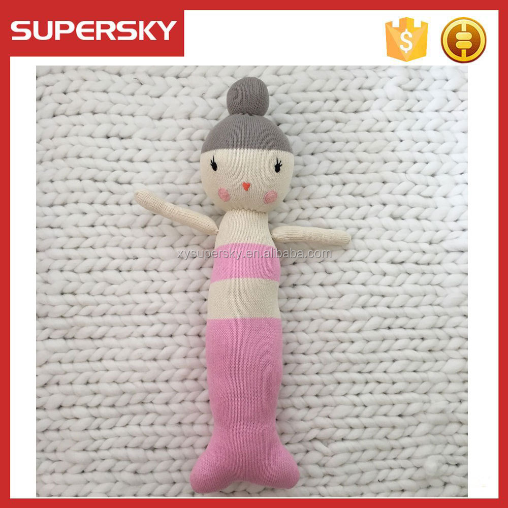 C130 NEW Hand Knitted Crochet Toys Baby Pillow Mermaid Doll