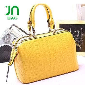 Jianuo Nice Quality Villager Handbags Hard Shape Bag Yellow Handbag